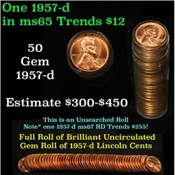 Full roll of 1957-d Lincoln Cents 1c Uncirculated Condition . .
