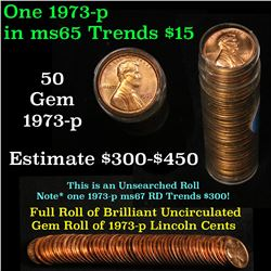 Full roll of 1973-p Lincoln Cents 1c Uncirculated Condition . .