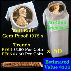 Proof 1978-s Lincoln cent 1c roll, 50 pieces (fc) . .