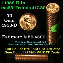 Full roll of 1958-d Lincoln Cents 1c Uncirculated Condition . .