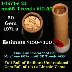 Full original shotgun roll of 1971-s Lincoln Cents 1c Uncirculated Condition . .