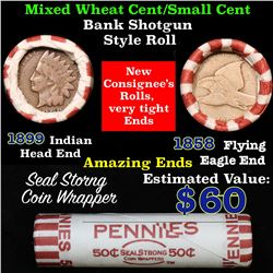 Mixed small cents 1c orig shotgun roll, 1899 Indian Cent, 1858 Flying Eagle Cent other end