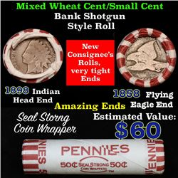 Mixed small cents 1c orig shotgun roll, 1858 Flying Eagle Cent, 1898 Indian Cent other end