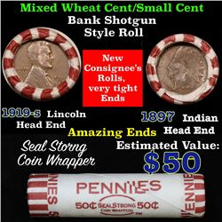 Mixed small cents 1c orig shotgun roll,1919-s Wheat Cent, 1892 Indian Cent other end