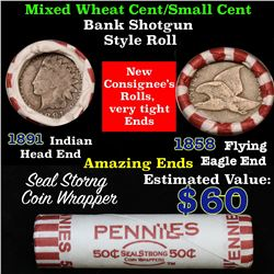 Mixed small cents 1c orig shotgun roll, 1858 Flying Eagle, 1891 Indian Cent other end
