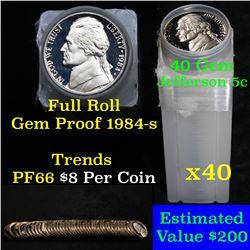 Proof 1984-s Jefferson nickel 5c roll, 40 pieces (fc)