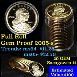 Proof 2005-s Sacagawea dollar roll $1, 20 pieces