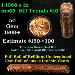 ***Auction Highlight*** Full original shotgun roll of 1968-s Lincoln Cents 1c Uncirculated Condition