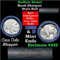 Buffalo Nickel Shotgun Roll in Old Bank Style Wrapper 1919 & 1928-d Mint Ends