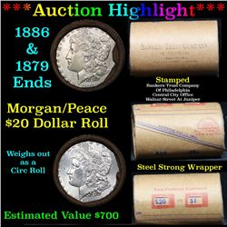 ***Auction Highlight*** Full Morgan/Peace silver dollar roll $20, 1886 & 1879 ends Mixed dates  (fc)