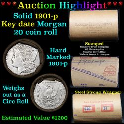***Auction Highlight*** Full solid date 1901-p Morgan silver dollar roll, 20 coins   (fc)