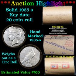 ***Auction Highlight*** Full solid date 1935-s Peace silver dollar roll, 20 coins   (fc)