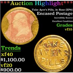 ***Auction Highlight*** Take Ayer's Pills, 3c Rose (EP9) Encased Postage 3c Grades vf++ (fc)