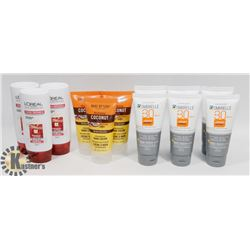 BAG OF TRAVEL SIZE SUNSCREENS AND SHAMPOOS