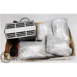 FLAT OF 4 VEHICLE LIGHTS, NEW HEATER AND MORE