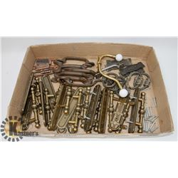 FLAT OF VINTAGE HARDWARE, PULLS AND MORE