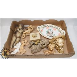FLAT OF CHERUBS AND OTHER DECORATIVE ITEMS
