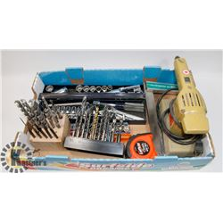 FLAT OF ASSORTED TOOLS INCLUDING SOCKETS, DRILL