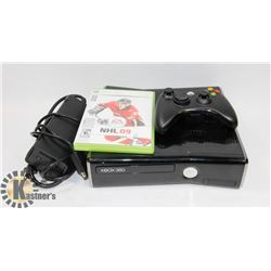 XBOX 360 CONSOLE WITH POWER CABLE, ONE
