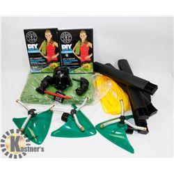 FLAT OF NEW! PRODUCT INCLUDING ROPE, TOWELS,