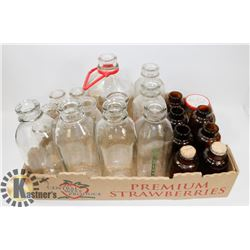 BOX OF VINTAGE MILK BOTTLES/JARS.