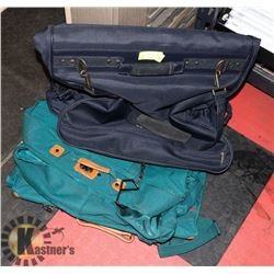 2 GARMENT SUITCASES - 1 NAVY, 1 EMERALD GREEN