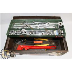 TOOL BOX WITH WRENCHES, SOCKET SETS, PIPE WRENCHES