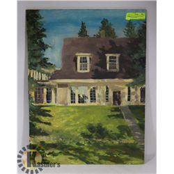 "ORIGINAL OIL ON BOARD ""HOUSE"" BY CRANE THOMAS"