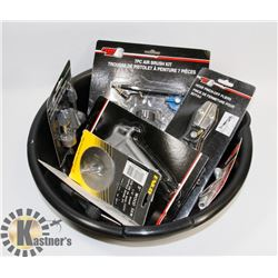 OIL DRAIN PAN WITH ASSORTED TOOLS INCL PLIERS,