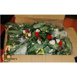BOX OF PLASTIC FLOWERS