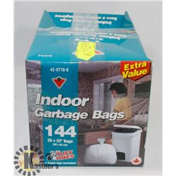 2 BOXES OF INDOOR GARBAGE BAGS, 20X22, 144 IN EACH