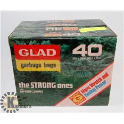 2 BOXES OF GLAD GARAGE BAGS 26X56, 40 IN EACH.