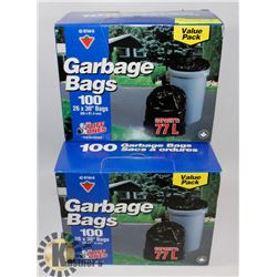 3 BOXES OF 100 GARBAGE BAGS.