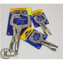 LOT OF 3 VISE-GRIP SWIVEL PAD LOCKING C-CLAMPS,