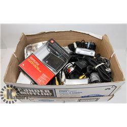BOX OF ASSORTED ELECTRONICS.