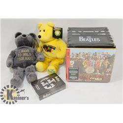 2 BEATLES BEARS, SGT PEPPER CRATE & PLAYING CARDS.