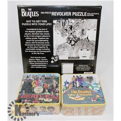 3 BEATLES PUZZLES - 2 IN TINS.