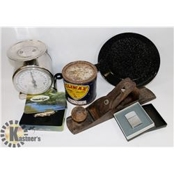 LOT OF HOUSEHOLD ASSORTED INCLUDING FRY PAN,