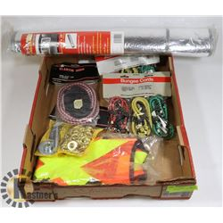 FLAT OF ASSORTED INCL BUNGEES, REFLECTIVE VEST,