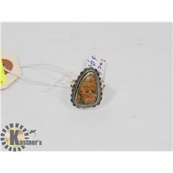 STERLING SILVER UNAKITE RING SIZE 5.75.