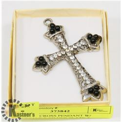 VINTAGE CROSS PENDANT W/ CRYSTALS & SILVER PLATE &
