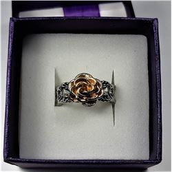 11)  SILVER TONE WITH GOLD COLORED ROSE