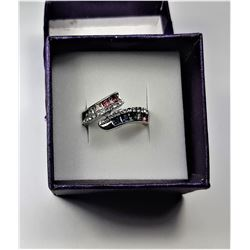 9)  MULTI COLORED NATURAL SAPPHIRE RING