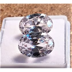 16)  LOT OF 2 MATCHED OVAL ZIRCON