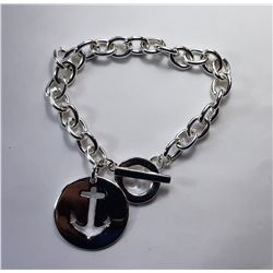 """24)  SILVER TONE 8"""" CHAIN BRACELET WITH"""