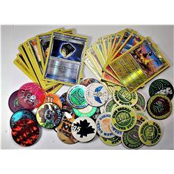 14)  LOT OF 28 POKÉMON CARDS & 37 POGS