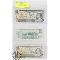 LOT OF 3 CANADA 1973 $1 BILLS