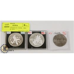 LOT OF 3 CANADA $1 COINS,  1982, 1990 SILVER, 1974