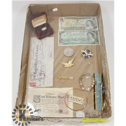 FLAT OF ASSORTED COINS, CURRENCY AND COLLECTIBLES