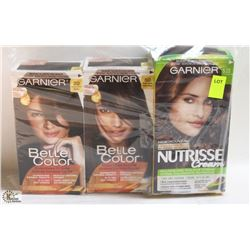 3 BOXES OF GARNIER HAIR DYE